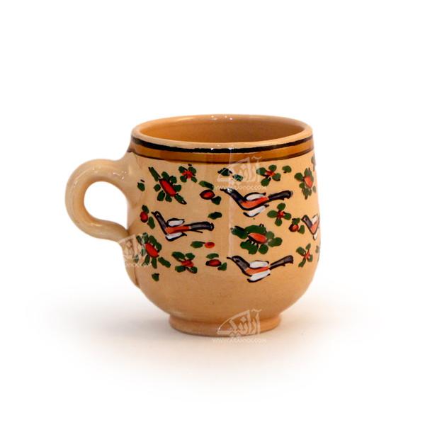 لیوان سفالی آرانیک دسته دار نقاشی زیر لعابی  رنگ قهوه ای روشن طرح پرنده مدل 1002900002