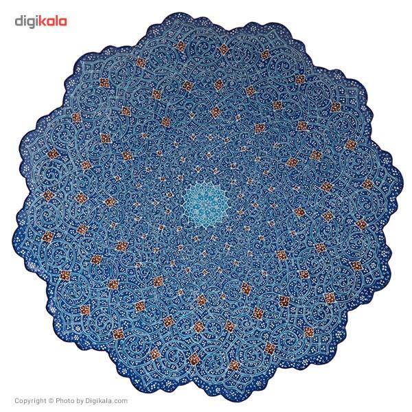 بشقاب مسی میناکاری شده اثر اسماعیلی طرح اسلیمی قطر 25 سانتی متر