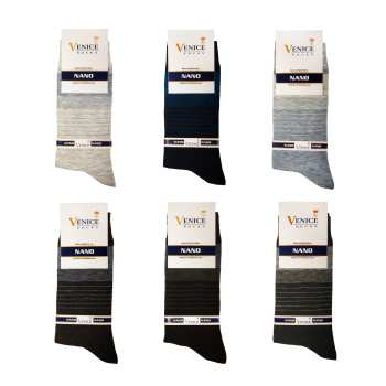 جوراب مردانه ونیز کد AL-V4 مجموعه ۶ عددی