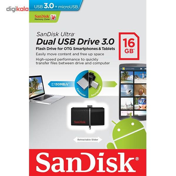 فلش مموری سن دیسک مدل Ultra Dual USB Drive 3 0 ظرفیت 16 گیگابایت