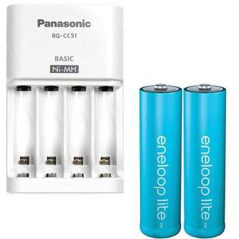 شارژر باتری پاناسونیک مدل Eneloop BQ-CC51S به همراه باتری قلمی قابل شارژ پاناسونیک مدل Eneloop Lite بسته 2 عددی