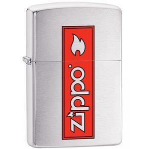 فندک زیپو مدل Logo Brushed Chrome کد 29203