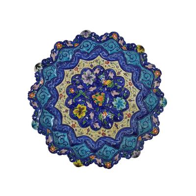 بشقاب میناکاری طرح گل پنج پری مدل u3002