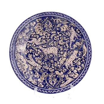 بشقاب سفالی آرانیک نقاشی زیر لعابی رنگ آبی تیره  طرح حیوانی مدل 1000200106