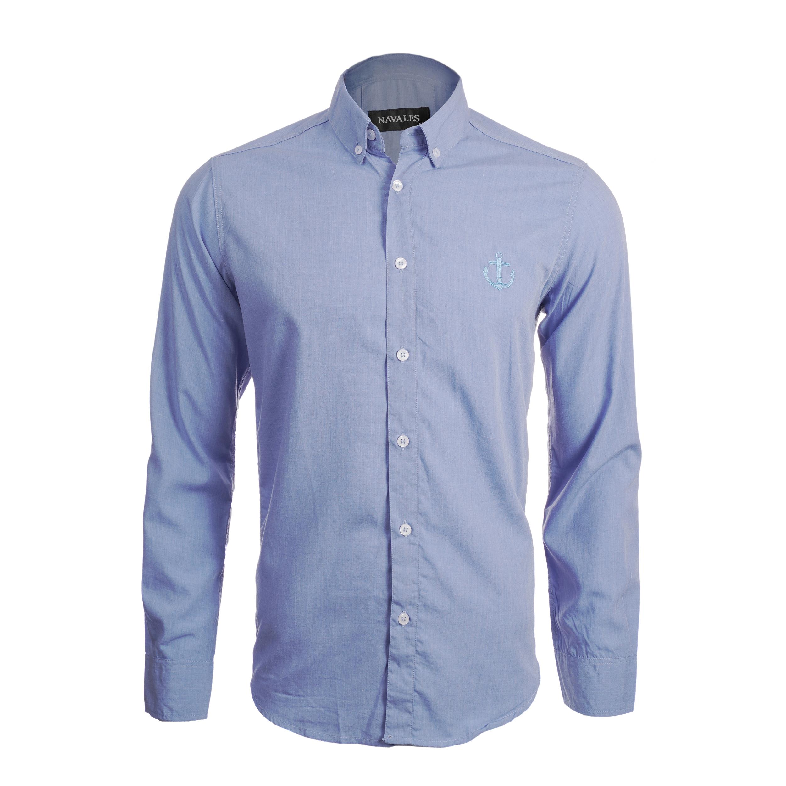 پیراهن آستین بلند مردانه ناوالس مدل MLANZH-LBL