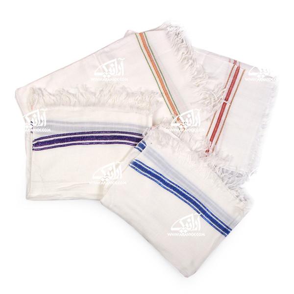 حوله دست و صورت آرانیک پنبه ای دستباف رنگ سفید  طرح نگار مدل 1714000014