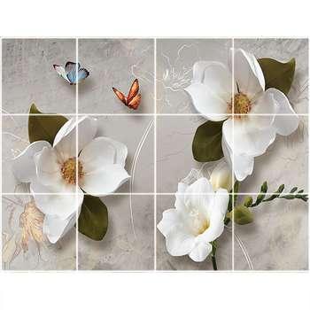 تایل سقفی طرح گل و پروانه کد 1081-12 سایز 60x60 سانتی متر مجموعه 12 عددی