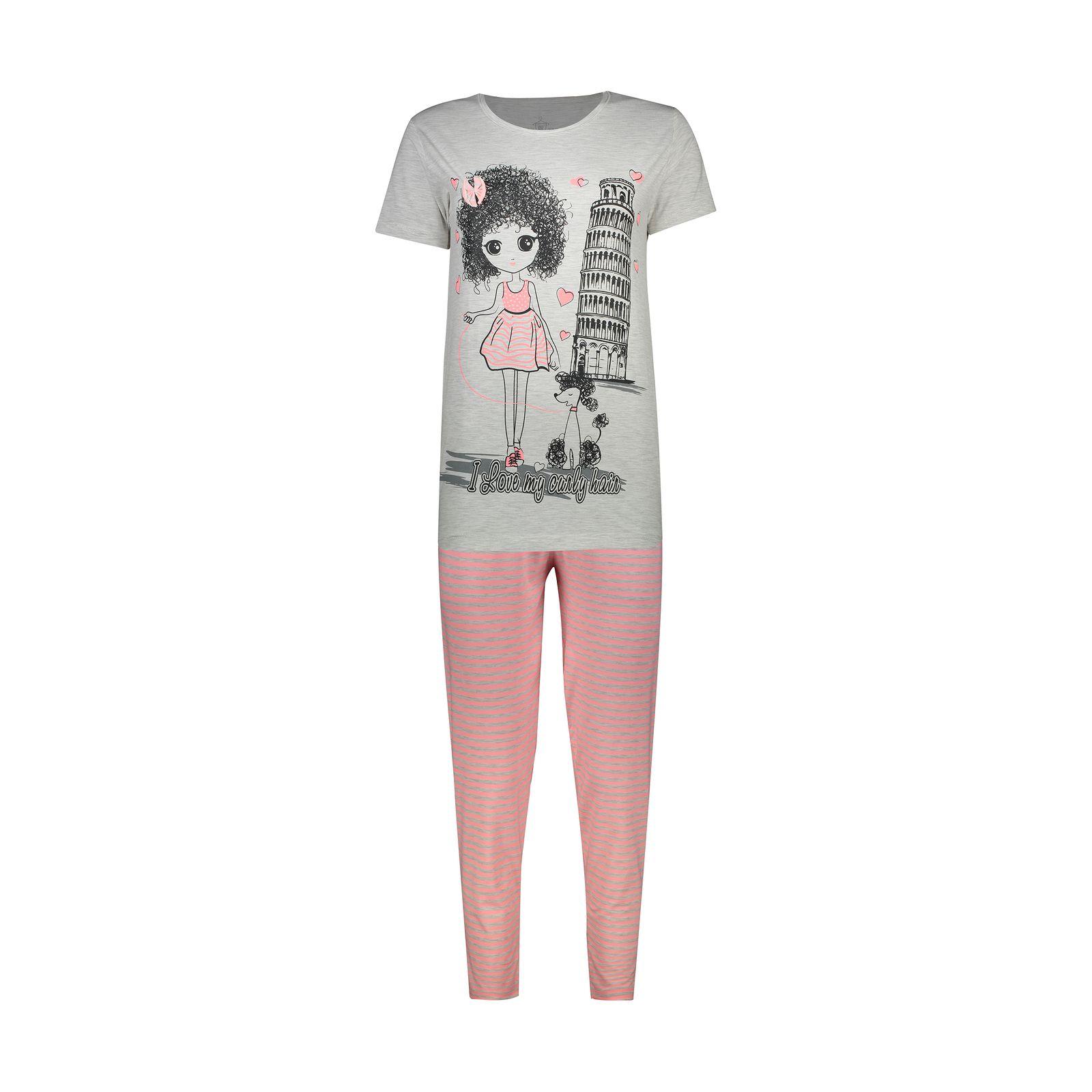 ست تی شرت و شلوار زنانه فمیلی ور طرح دخترکد 0224 -  - 2