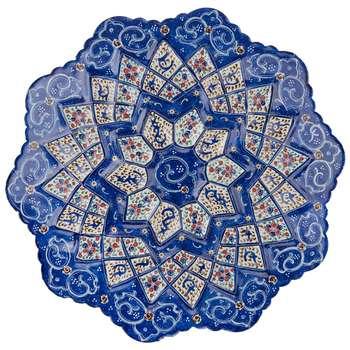 بشقاب مسی میناکاری شده اثر شیرازی طرح 3 قطر 16 سانتی متر
