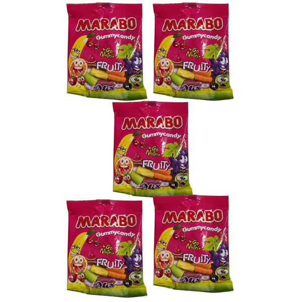 پاستیل لقمه ای میوه ای مخلوط مارابو 50 گرم بسته 5 عددی