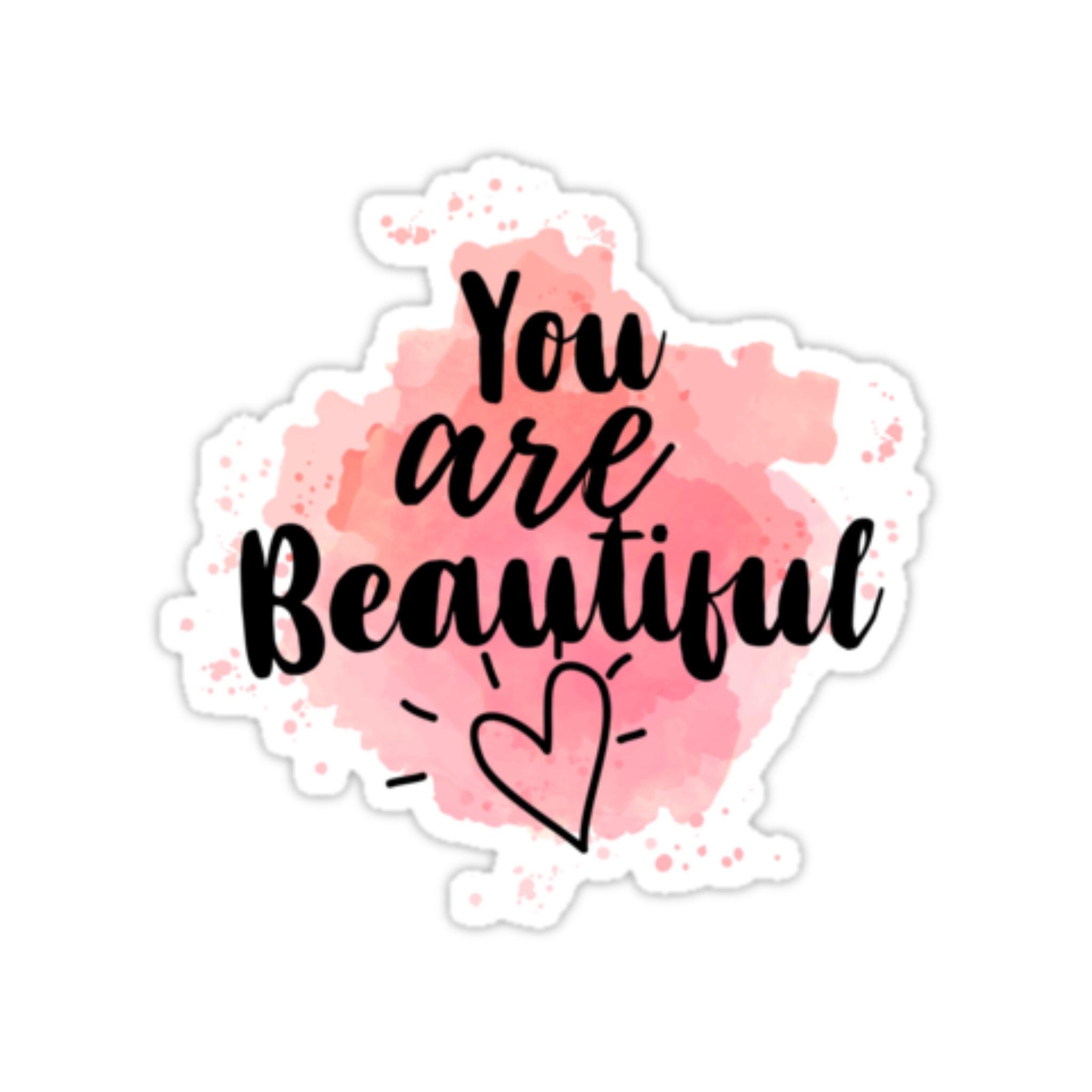 استیکر اپ تاپ طرح you are beautiful کد 201