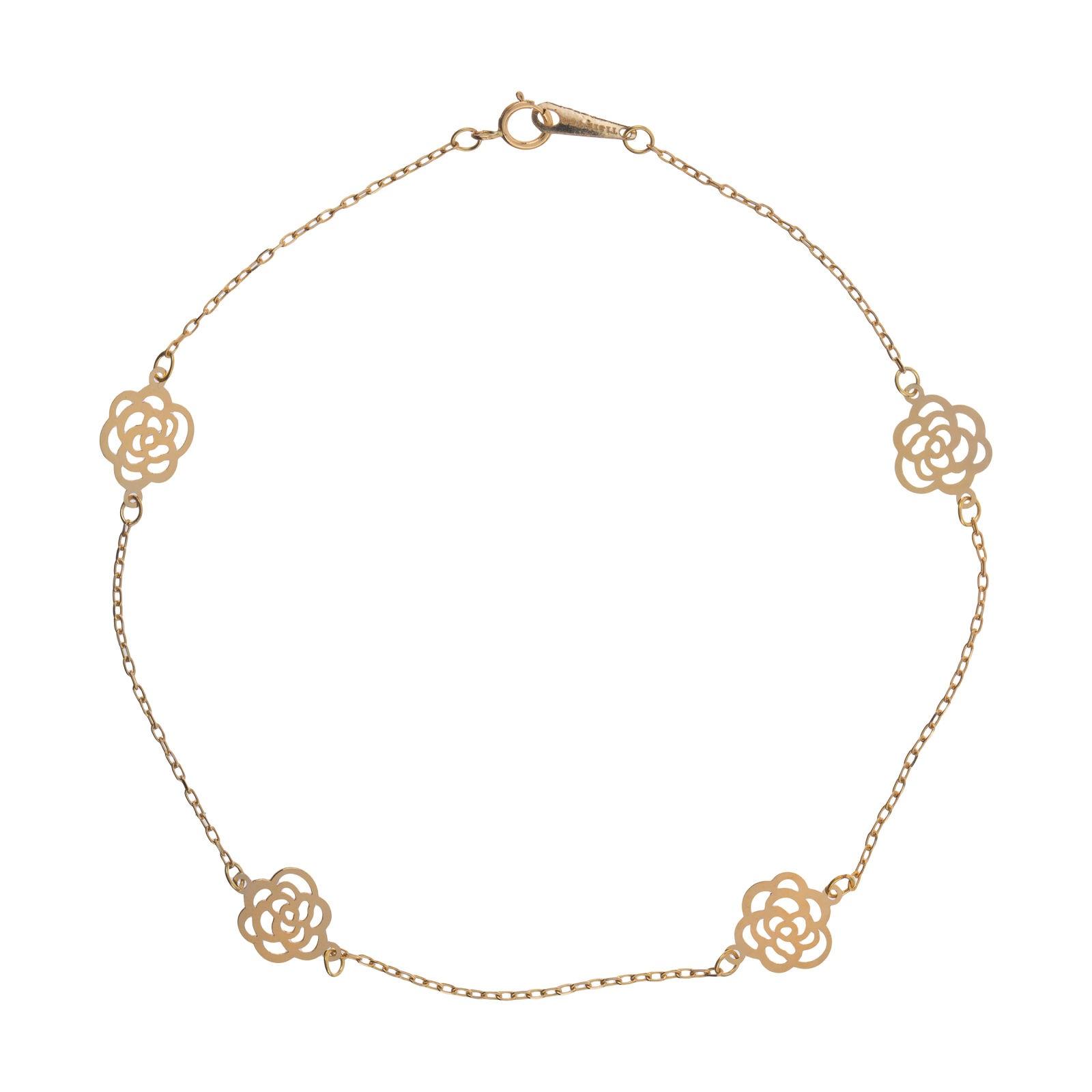 پابند طلا 18 عیار زنانه  گالری یارطلا مدل گل رز کد PA02