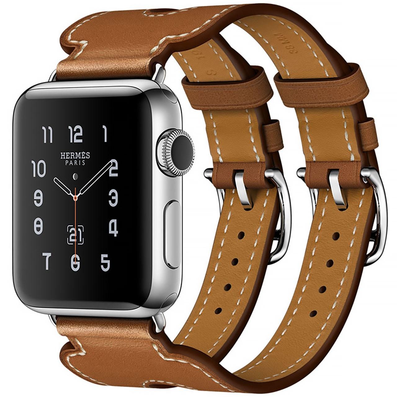 ساعت هوشمند اپل واچ هرمس سری 2  مدل Stainless Steel Case with Fauve Barenia Leather Double Buckle Cuff