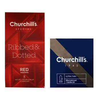 کاندوم چرچیلز مدل Ribed and Dotted بسته 12 عددی به همراه کاندوم چرچیلز  مدل Ultra Lubricant   بسته 3 عددی