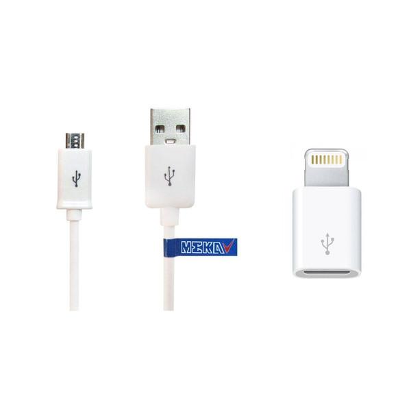 کابل تبدیل USB به microUSB مکا مدل MCU66 طول 1.2 متر به همراه مبدل microUSB به لایتنینگ