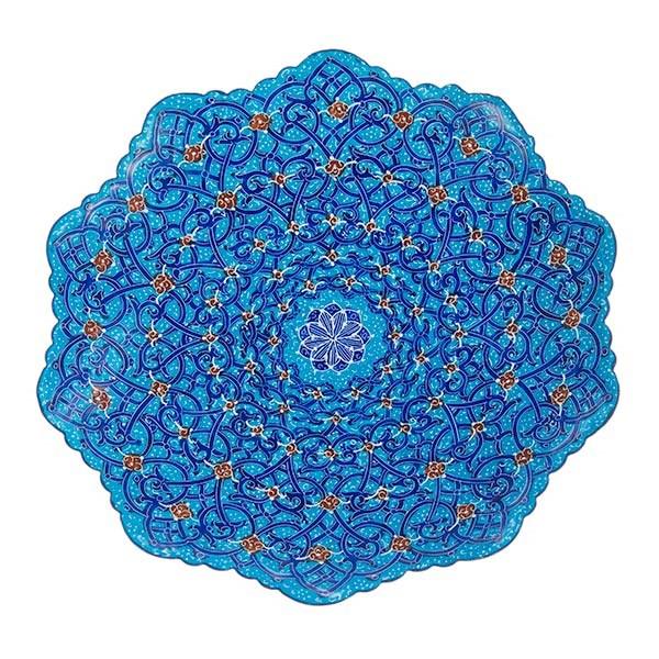 بشقاب مسی میناکاری شده اثر اسماعیلی قطر 16 سانتی متر
