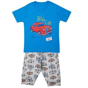 ست تی شرت و شلوارک پسرانه مدل ماشین کد 3325 رنگ آبی