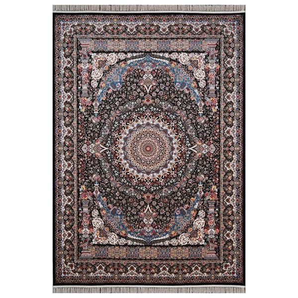 فرش ماشینی فرش هدیه طرح شاهانه زمینه سورمه ای