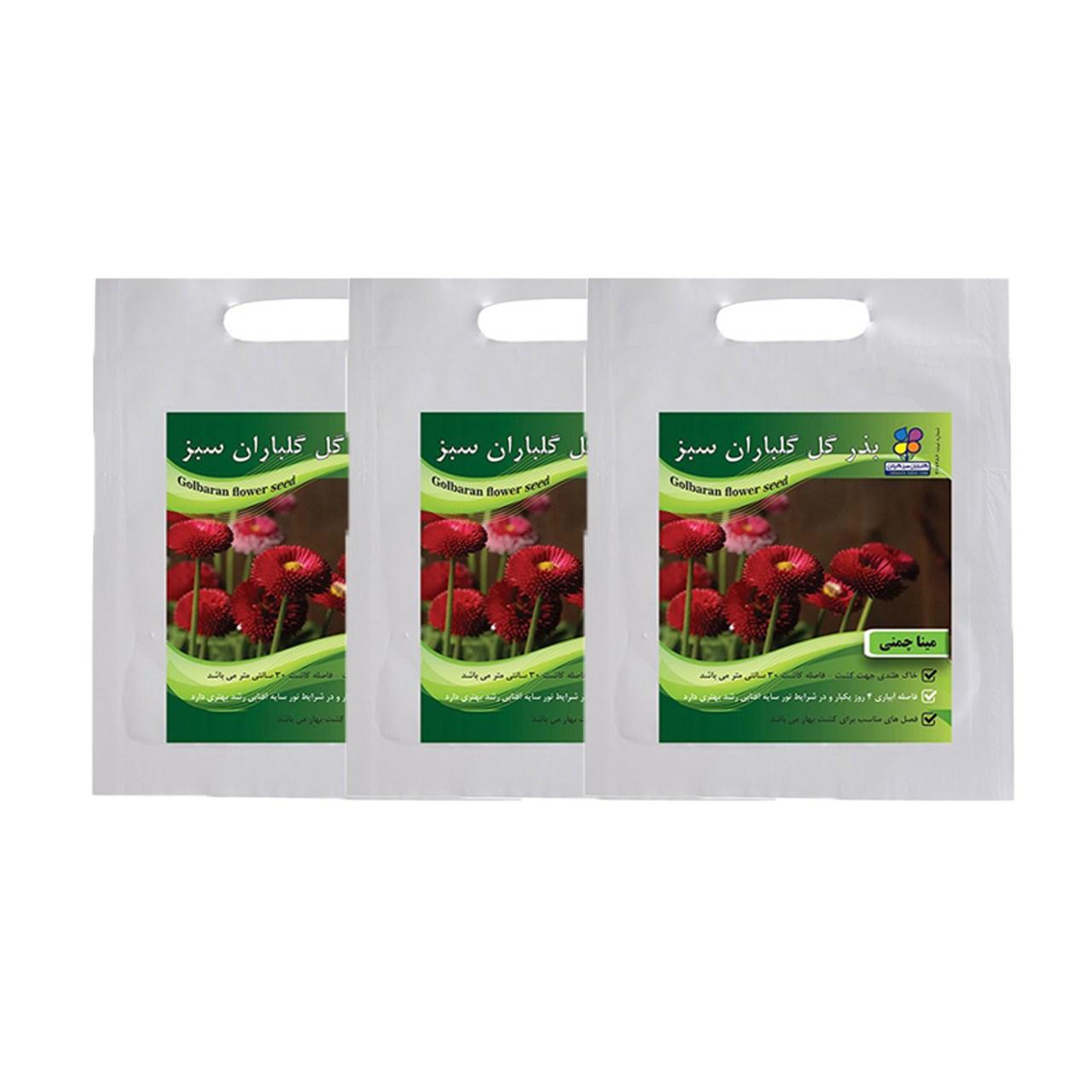 مجموعه بذر گل مینا چمنی گلباران سبز بسته 3 عددی