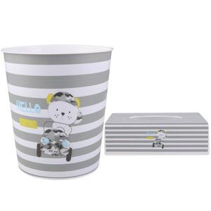 ست سطل و جادستمال کاغذی اتاق کودک طرح خرس راننده کد 0550
