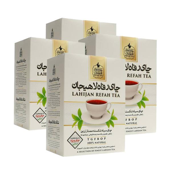 چای سیاه شکسته ممتاز زرین رفاه لاهیجان - 350 گرم مجموعه 4 عددی