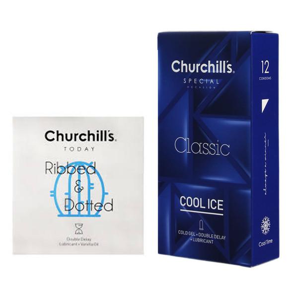 کاندوم چرچیلز مدل کلاسیک خنک بسته 12 عددی به همراه کاندوم چرچیلز مدل شیاردار و خاردار بسته 3 عددی