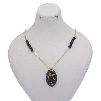 گردنبند طلا 24 عیار زنانه طرح چهار پروانه کد 300002