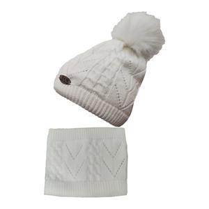 ست کلاه و شال گردن بافتنی بچگانه سام کد 151-1P رنگ شیری