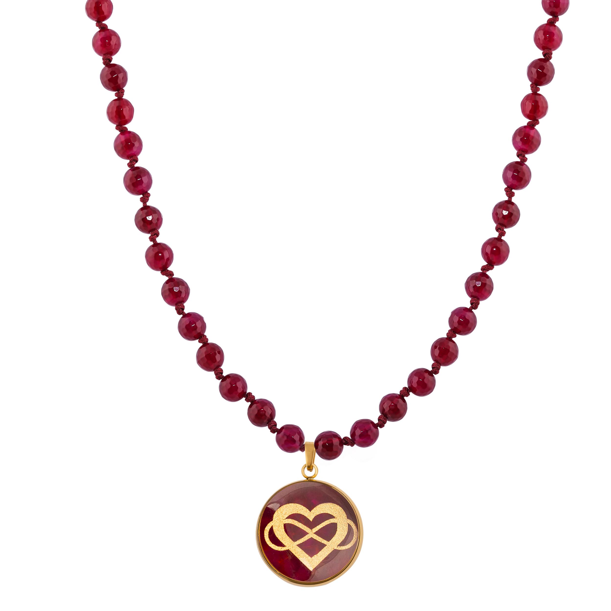 گردنبند زنانه الون طرح قلب و بی نهایت  کد AGH102 -  - 2