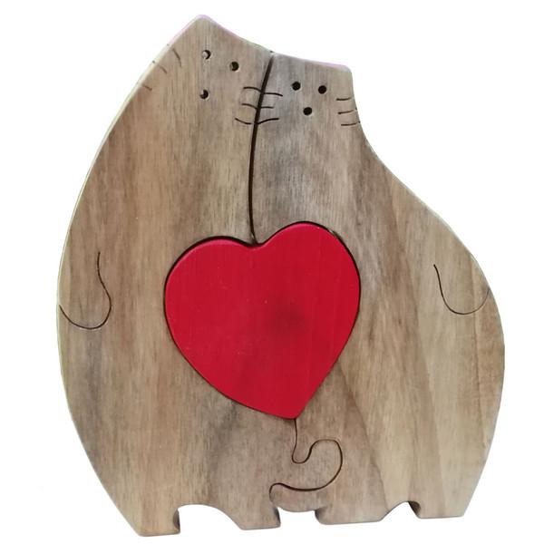 اسباب بازی چوبی مدل پازل گربه و قلب کد 1044