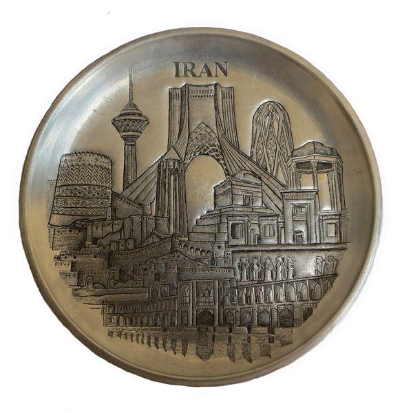 بشقاب قلمزنی طرح اثار تاریخی ایران