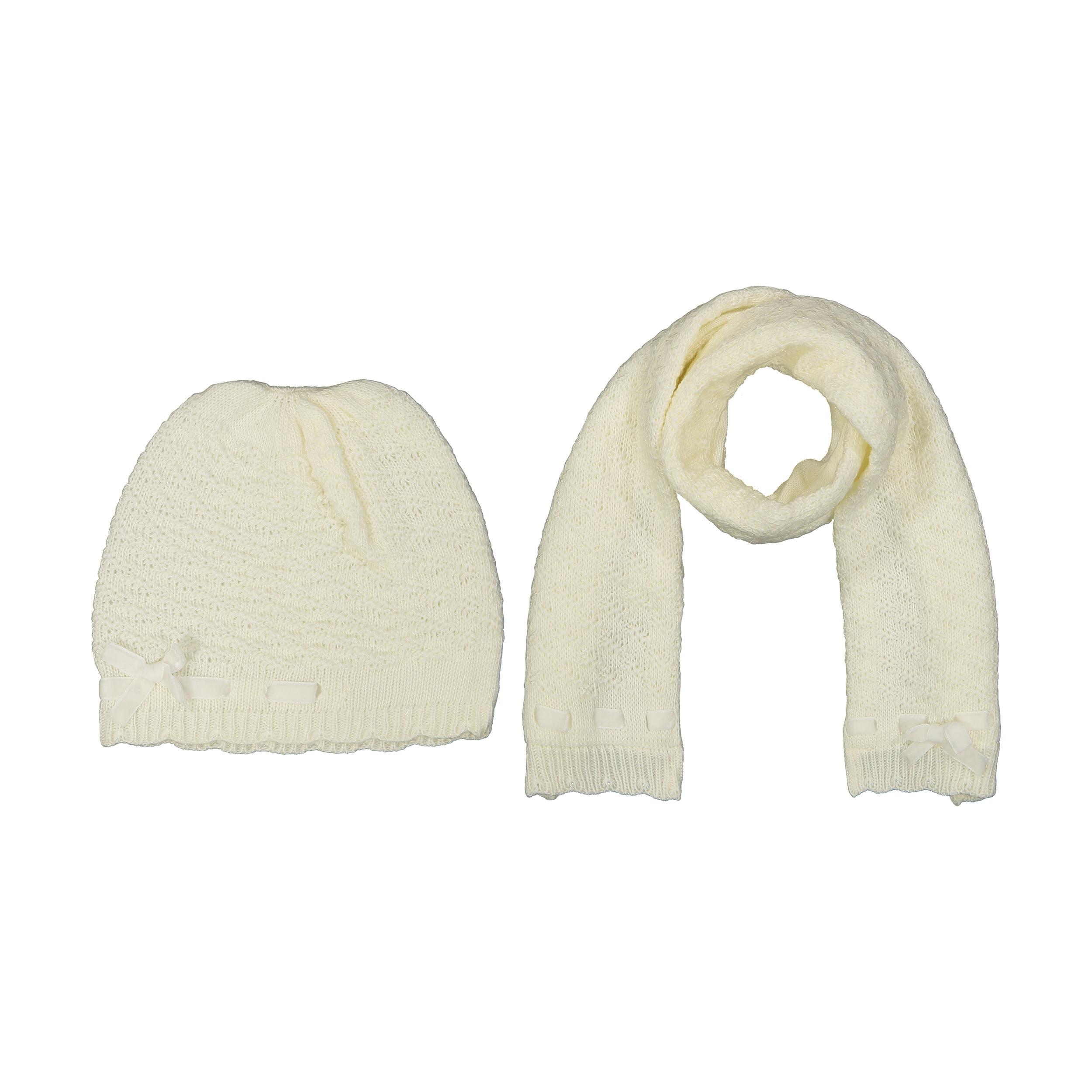 ست کلاه و شال گردن بافتنی نوزادی فیورلا کد 3813