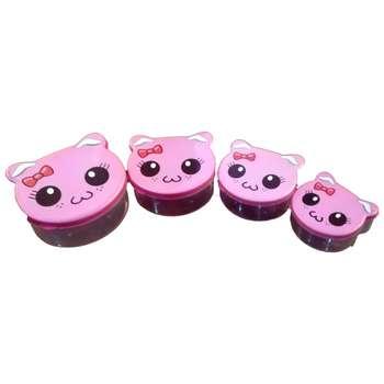 ظرف نگهدارنده غذای کودک مدل گربه شاد کد 013 مجموعه 4 عددی