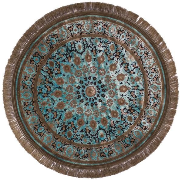 فرش ماشینی عرش طرح برین دایره زمینه آبی