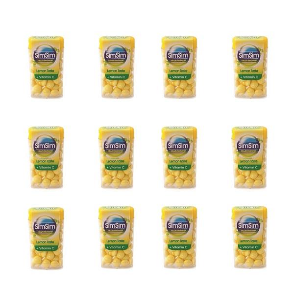قرص خوشبو کننده دهان سیم سیم مدل لیمو مجموعه 12 عددی