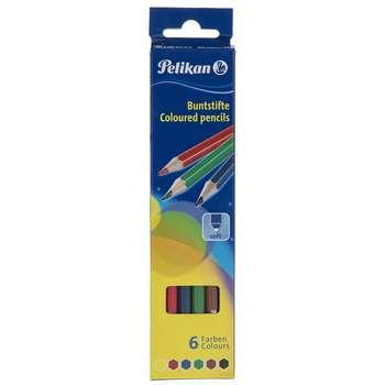 مداد رنگی 6 رنگ پلیکان