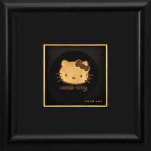 تابلوی طلاکوب زرسام طرح Kitty Little Round سایز 25 × 25سانتی متر