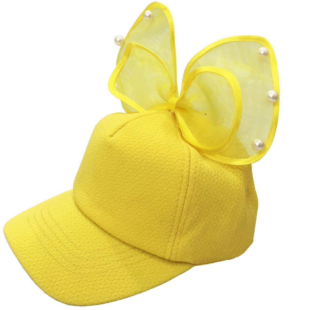 کلاه کپ دخترانه کد 140 رنگ زرد