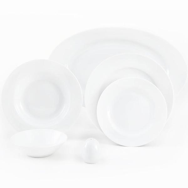 سرویس غذاخوری 28 پارچه چینی زرین ایران سری ایتالیا اف مدل White 2 درجه عالی