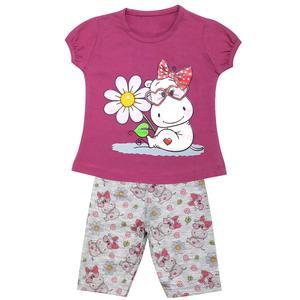 ست تی شرت و شلوارک دخترانه مدل گاو مهربون کد 3344 رنگ بنفش
