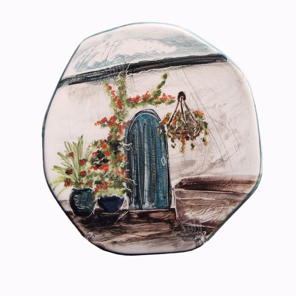 بشقاب سفالی آرانیک نقاشی زیر لعابی رنگارنگ طرح ایوان مدل 1000200051