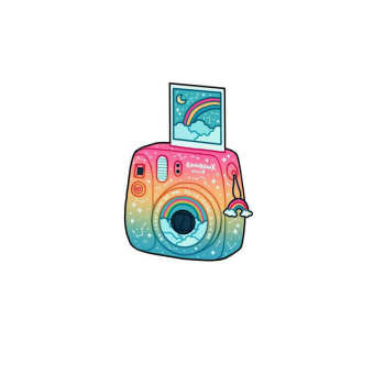استیکر لپ تاپ طرح دوربین هنری  کد 002