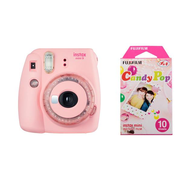 دوربین عکاسی چاپ سریع فوجی فیلم مدل Instax Mini 9 Clear به همراه یک بسته فیلم مدل Candy Pop بسته ۱۰ عددی