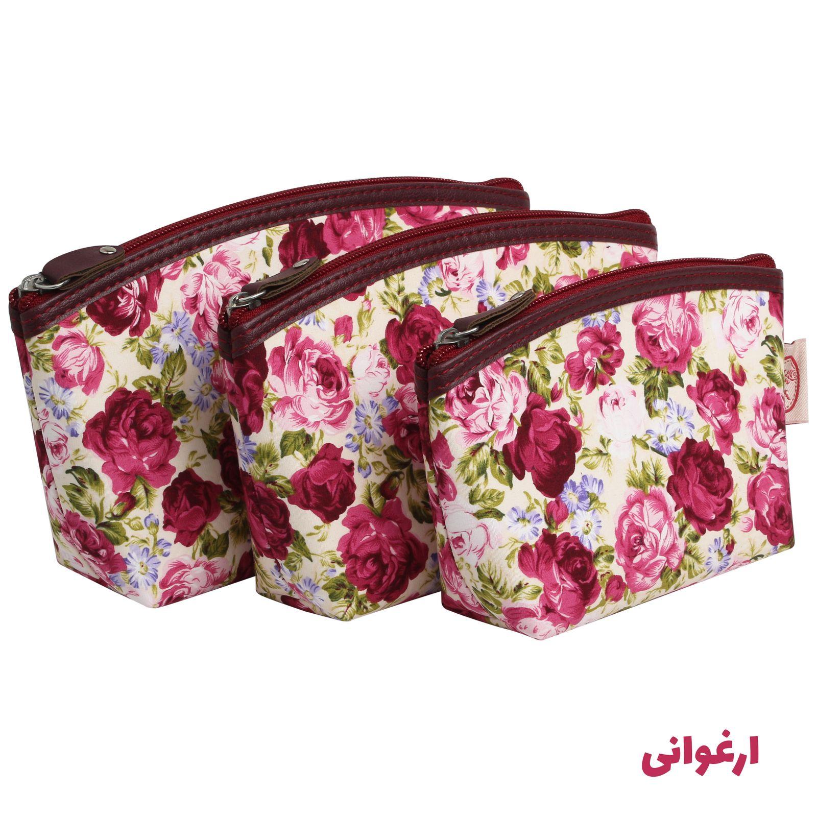 کیف لوازم آرایش زنانه سیب کد 15-Bgf مجموعه 3 عددی -  - 6