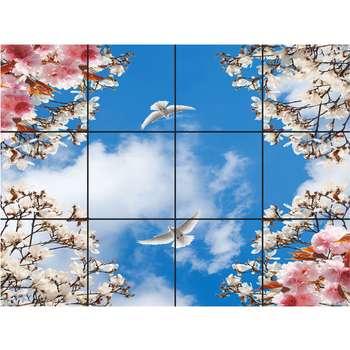 تایل سقفی آسمان مجازی طرح دو کبوتر کد 401 سایز 60x60 سانتی متر مجموعه 12 عددی