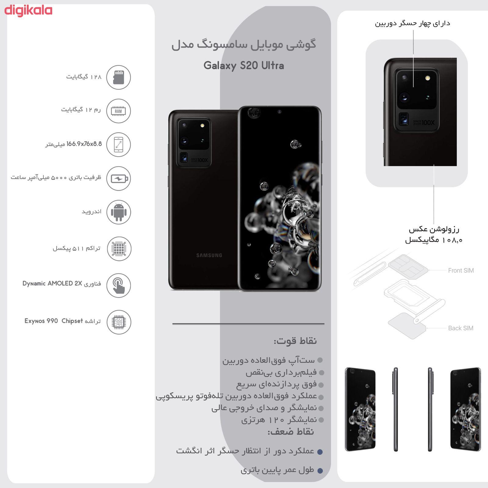 گوشی موبایل سامسونگ مدل  Galaxy S20 Ultra SM-G988B/DS دو سیم کارت ظرفیت 128 گیگابایت  main 1 28