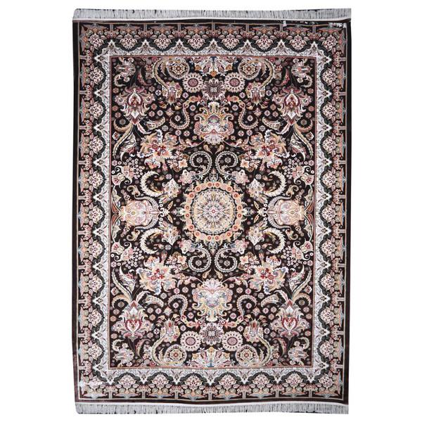فرش ماشینی مهتاب پارسیان طرح ستاره زمینه قهوه ای