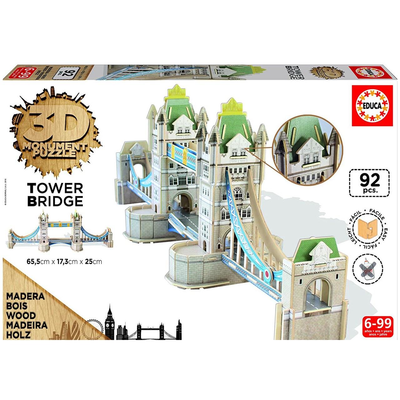 پازل سه بعدی چوبی 92 تکه ادوکا مدل Tower Bridge