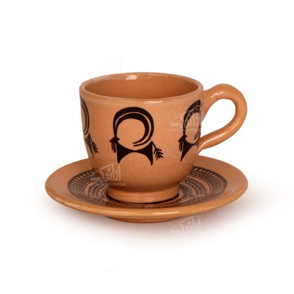 فنجان و نعلبکی سفالی نقاشی زیر لعابی قهوه ای روشن طرح بز کوهی مدل 1007800006