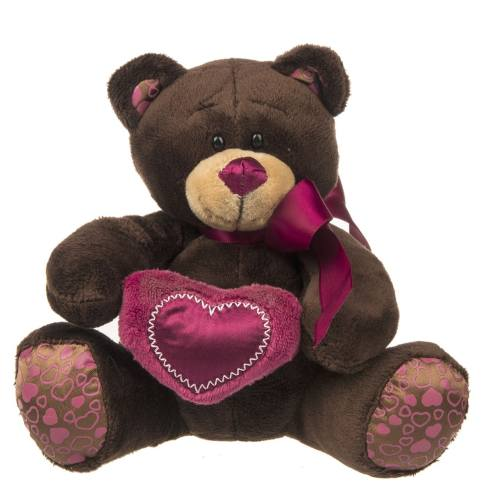 عروسک پولیشی پالیز مدل Brown Bear with Heart ارتفاع 32 سانتی متر
